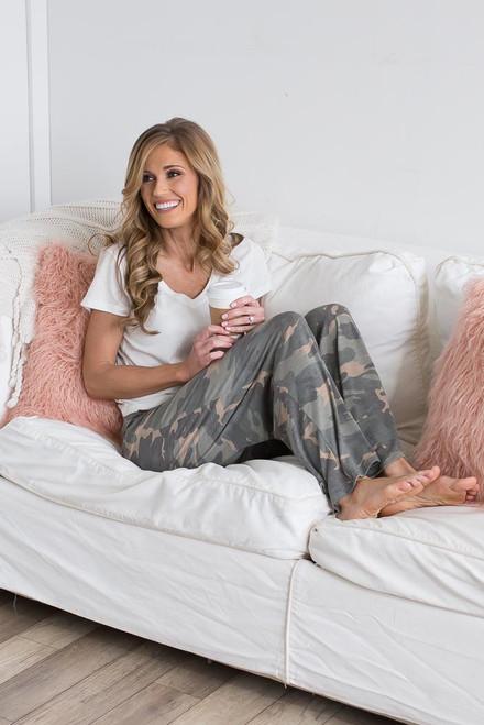 Velvet Drawstring Camo Lounge Pants - Olive Multi