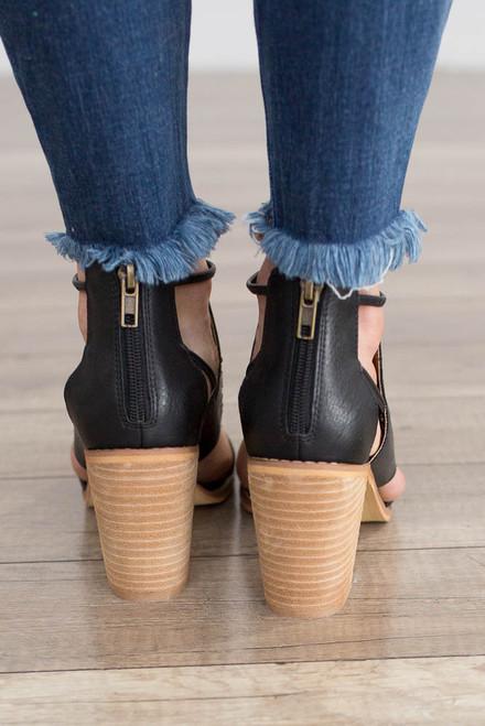 Hadley Cutout Peep Toe Booties - Black