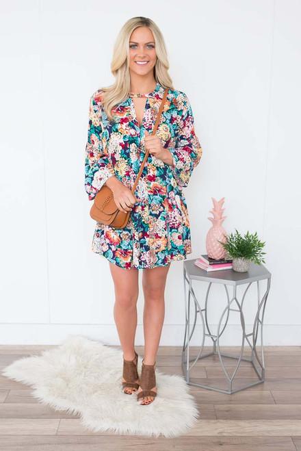 Floral Print Keyhole Dress - Navy Multi - FINAL SALE