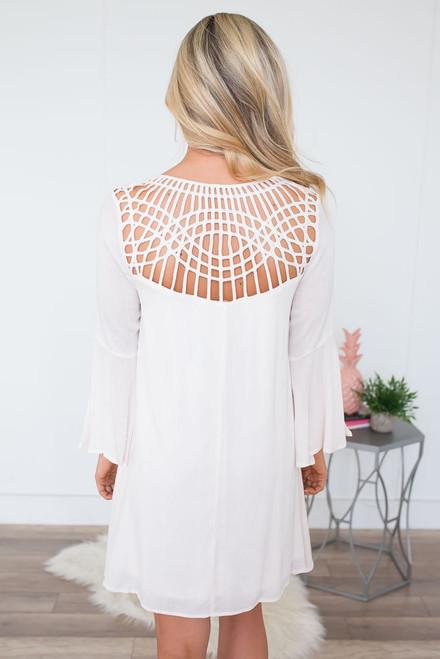 Cage Back Keyhole Dress - Vanilla