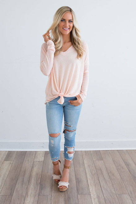 V-Neck Thermal Knot Top - Pale Peach