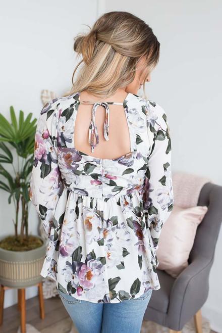 Floral Print Babydoll Blouse - Cream Multi - FINAL SALE