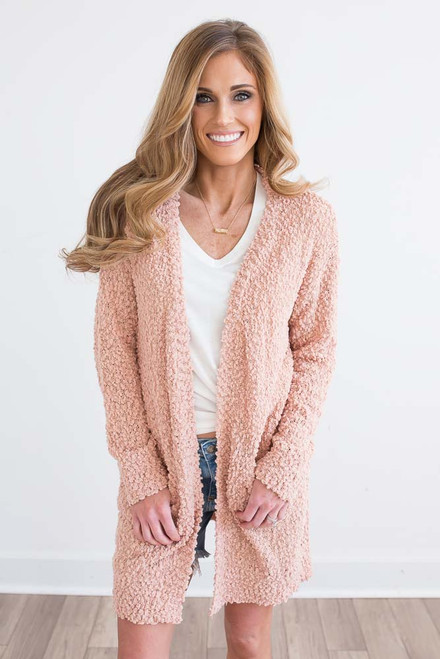 Wubby Pocket Cardigan - Dusty Peach