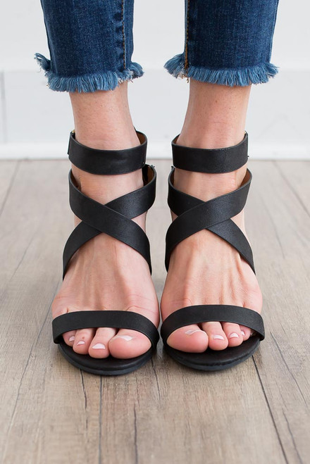 Gabrielle Distressed Strappy Heels - Black