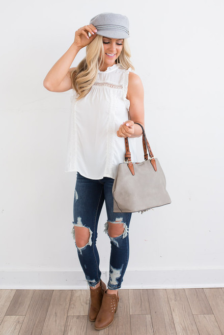 Love Letters Sleeveless Blouse - Off White