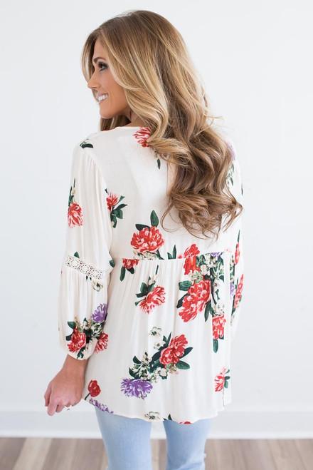Crochet Detail Floral Blouse - Ivory Multi