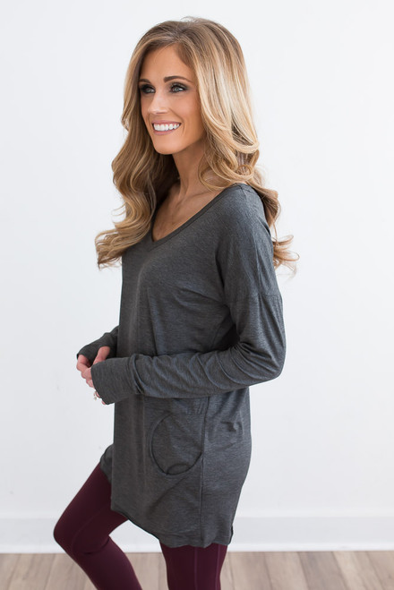 Lightweight V-Neck Pocket Pullover - Charcoal -  FINAL SALE