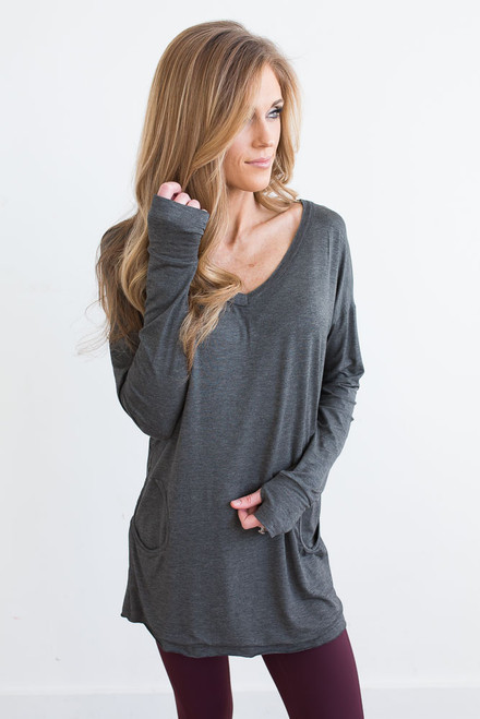 Lightweight V-Neck Pocket Pullover - Charcoal