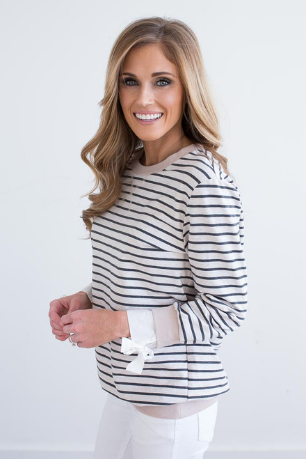 Reagan Striped Pullover - Tan/Charcoal