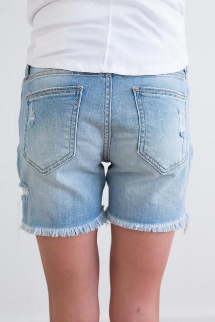 Distressed Midi Denim Shorts - Light Wash