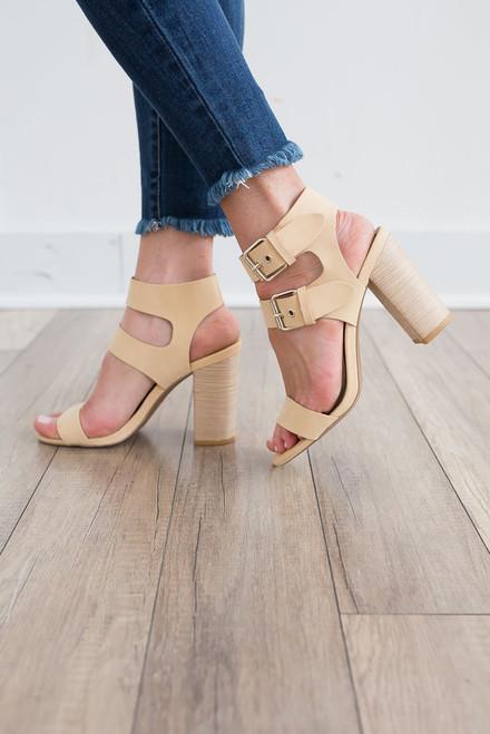 Double Buckle Block Heels - French Vanilla - FINAL SALE