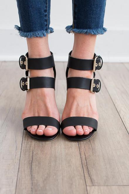 Double Buckle Block Heels - Black