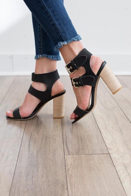 Double Buckle Block Heels - Black - FINAL SALE