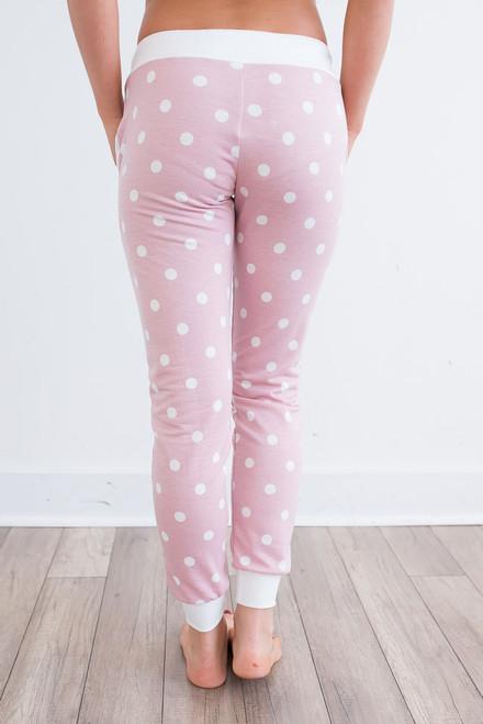 Polka Dot Drawstring Joggers - Pink/Ivory -  FINAL SALE