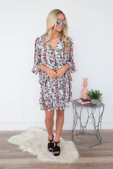 Floral Print Wrap Dress - Black Multi
