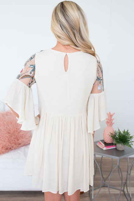 Agave Desert Embroidered Dress - Natural Multi
