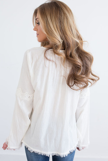 Crochet Detail Frayed Crinkle Top - Ivory