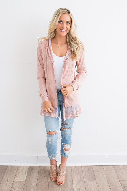 Lace Detail Zip Up Jacket - Dusty Pink