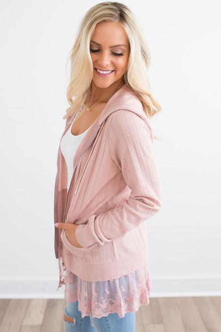 Lace Detail Zip Up Jacket - Dusty Pink -  FINAL SALE