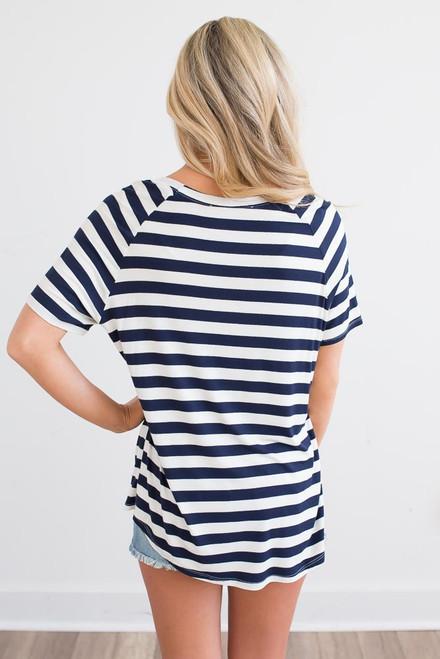V-Neck Striped Tee - Navy/Ivory