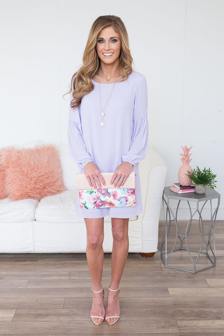 Everly Spring Soiree Shift Dress - Lilac