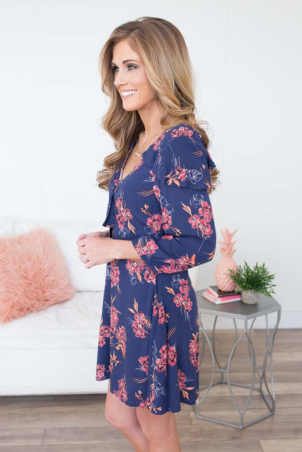 Floral Print Tie Front Dress - Navy