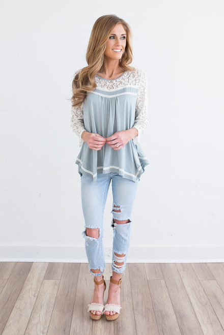 Lace Detail Asymmetrical Top - Blue Haze