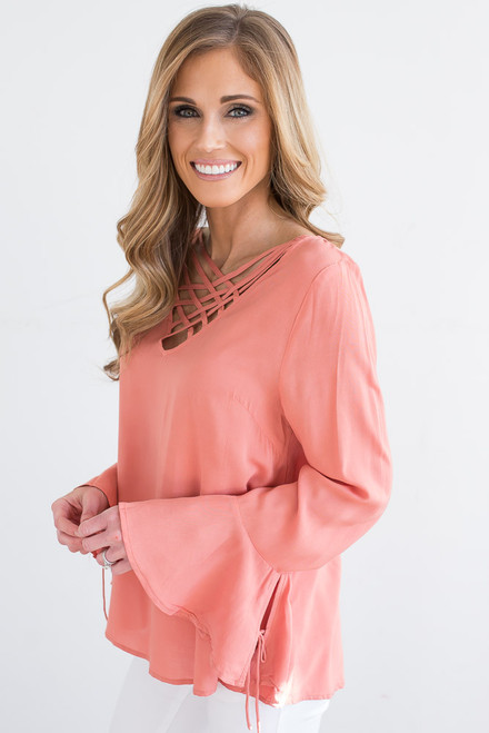 Lattice Peplum Sleeve Top - Salmon