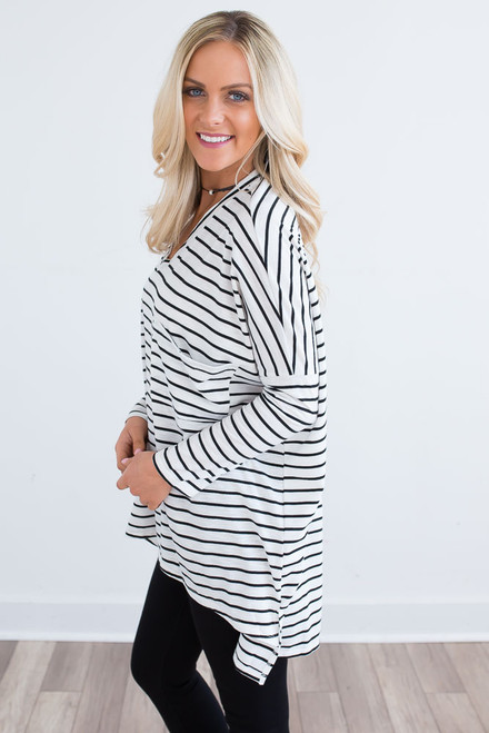 Striped High Low Oversized Tunic - White/Black