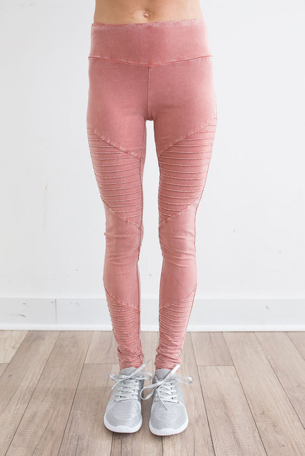 Vintage Wash Moto Leggings - Coral Haze