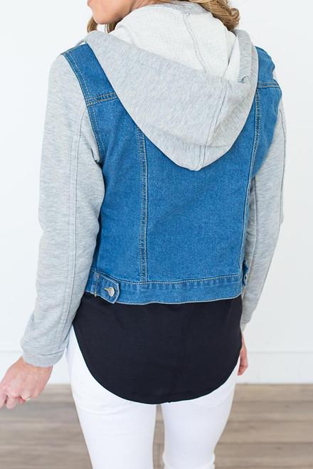 Cropped Sweatshirt Denim Jacket - Medium Wash