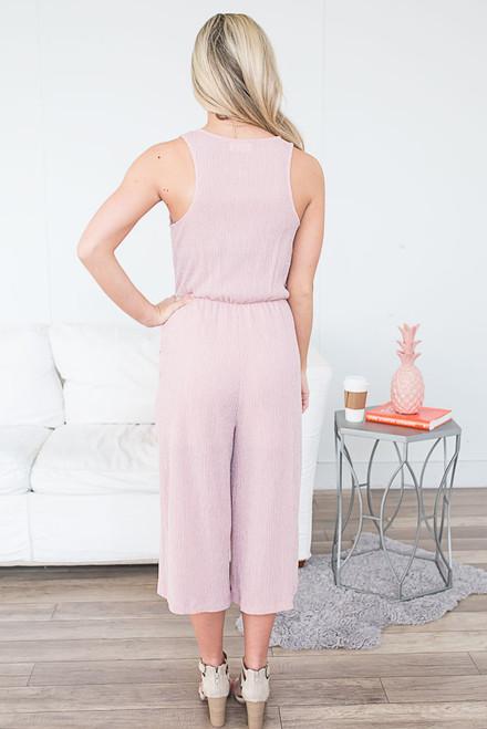 Everly Surplice Textured Jumpsuit - Blush