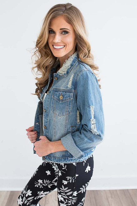 Country Roads Distressed Denim Jacket - Light Wash