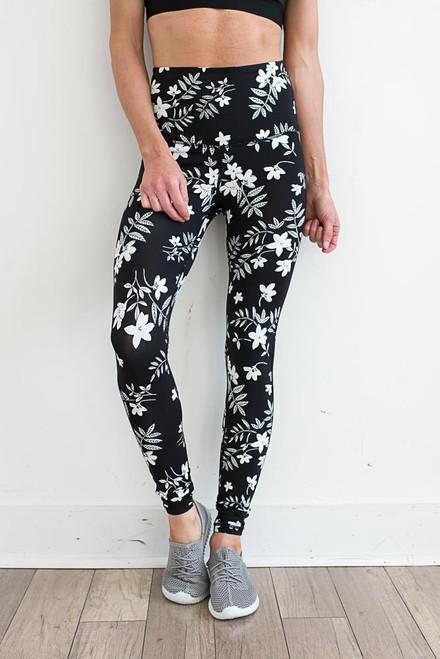 High Waisted Floral Athletic Leggings - Black