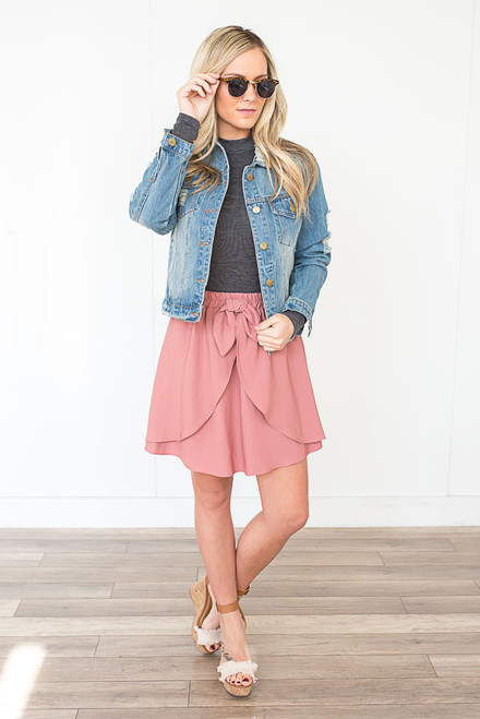 Everly Tie Tulip Skirt - Rose Blossom
