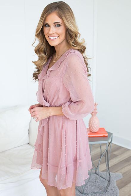 Chiffon Dot Ruffle Surplice Dress - Rose Quartz