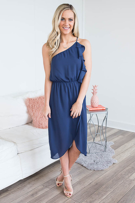 Everly One Shoulder Ruffle Midi Dress - Navy