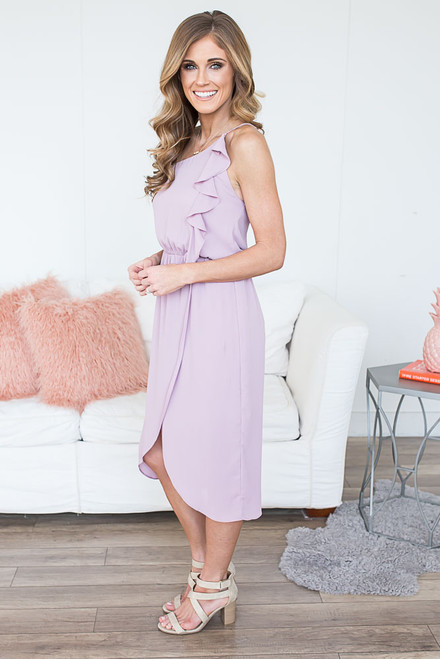 Everly One Shoulder Ruffle Midi Dress - Sweet Lilac