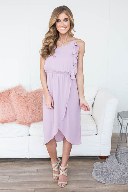 Everly One Shoulder Ruffle Midi Dress - Sweet Lilac - FINAL SALE