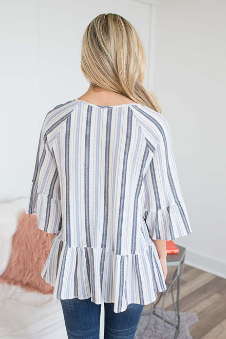 3/4 Sleeve Striped Peplum Top - Blue Multi