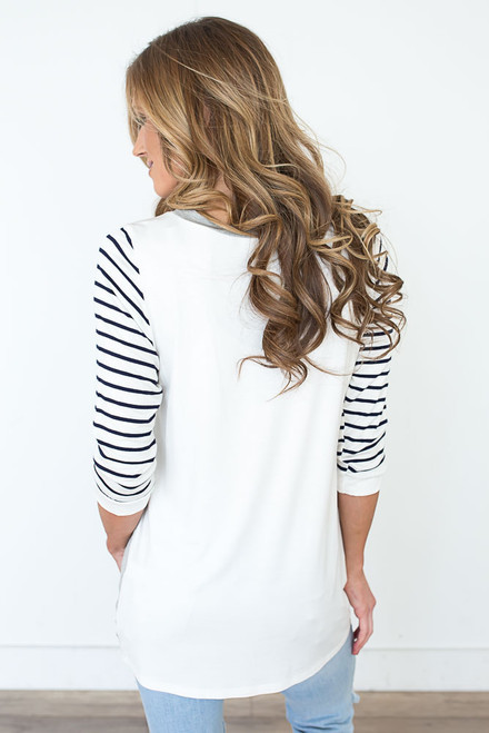 Colorblock Striped Baseball Tee - Grey/Navy/White