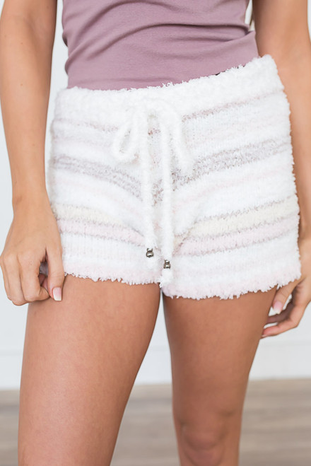 Berber Fleece Striped Shorts - Pearl Pink Multi - FINAL SALE