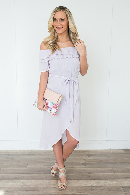 Everly Off the Shoulder Tulip Midi Dress - Lilac