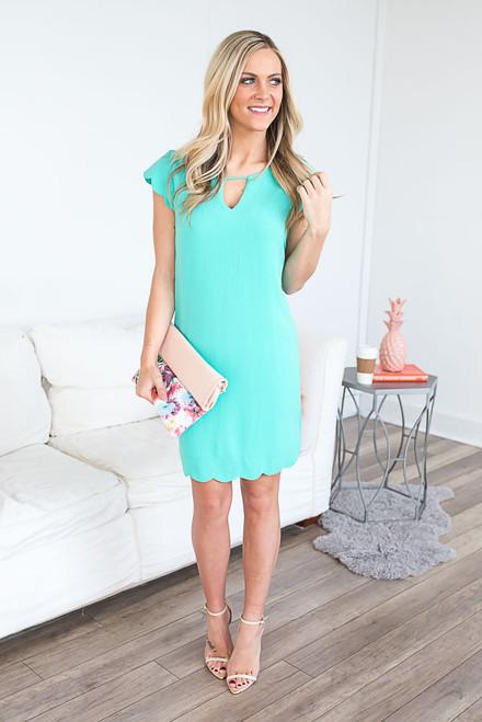 Cap Sleeve Scalloped Dress - Bermuda Jade