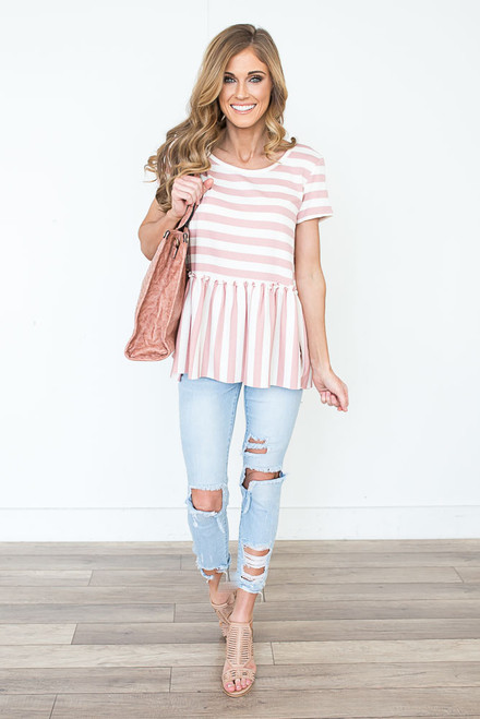 Striped Keyhole Back Babydoll Top - Rose/White
