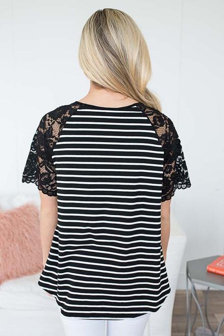 Striped Twisted Hem Top - Black/White -  - FINAL SALE