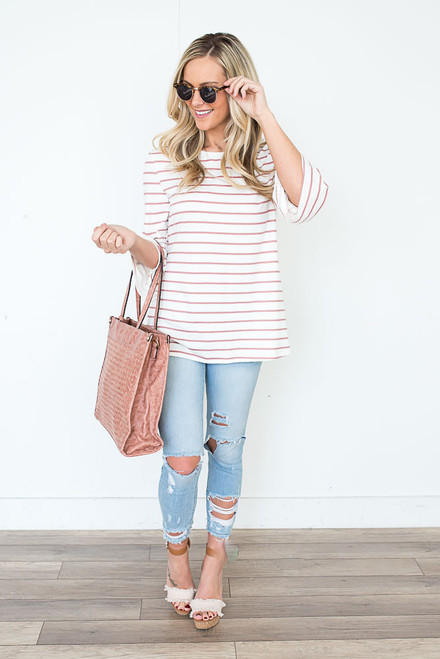 Striped Peplum Sleeve Top - Ivory/Dusty Pink