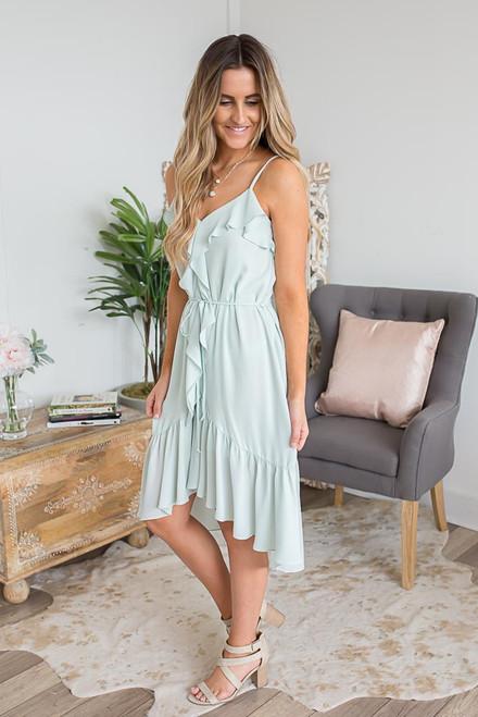 Everly Ruffle Detail High Low Dress - Light Mint - FINAL SALE