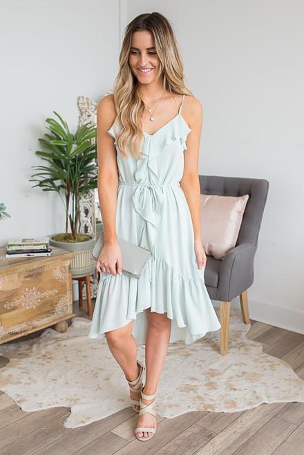 Everly Ruffle Detail High Low Dress - Light Mint