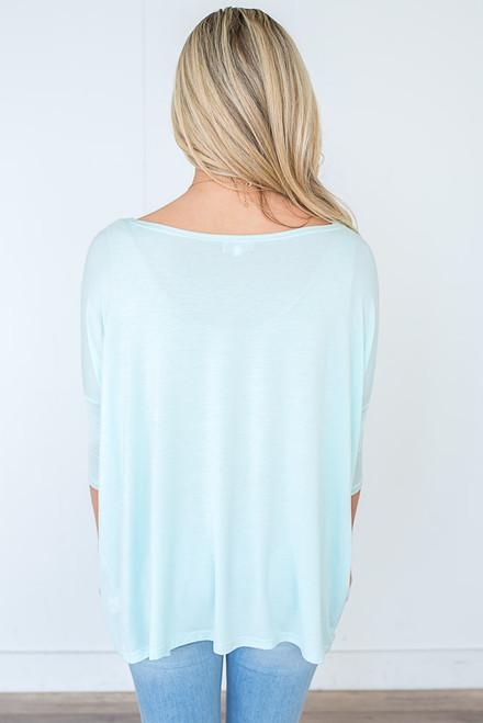3/4 Sleeve Knit Piko Top - Light Aqua